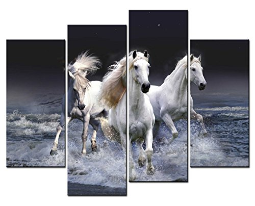 SmartWallArt - Animal Paintings Wall Art three White Horses Running in River in the Dark