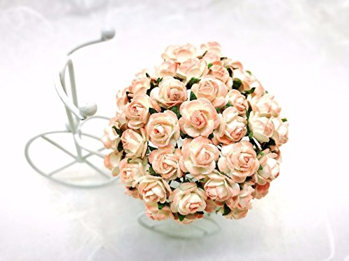 100 PCS cream peach pink Rose Mulberry Paper Flower Craft Handmade Wedding 10 mm Scrapbook