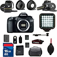 Canon EOS 60D DSLR Camera Body Al's Variety Premium Bundle with + Rechargeable LED Light + Premium Camera Carrying Case + 16GB SD Memory Cards + High Speed SD Memory Card Reader + Wide Angle and Telephoto Auxiliary Lenses + Great Value 15pc Bundle