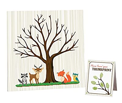 """Lillian Rose Woodland Baby Shower Guest Signing Canvas, Neutral, 11.75"""""""