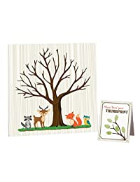Lillian Rose Woodland Baby Shower Guest Signing Canvas, Neutral, 11.75