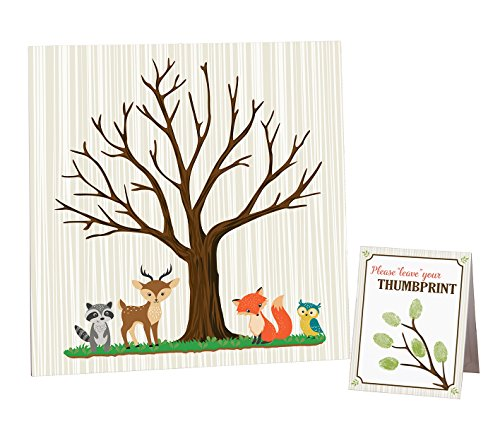 : Lillian Rose Woodland Baby Shower Guest Signing Canvas, Neutral, 11.75""