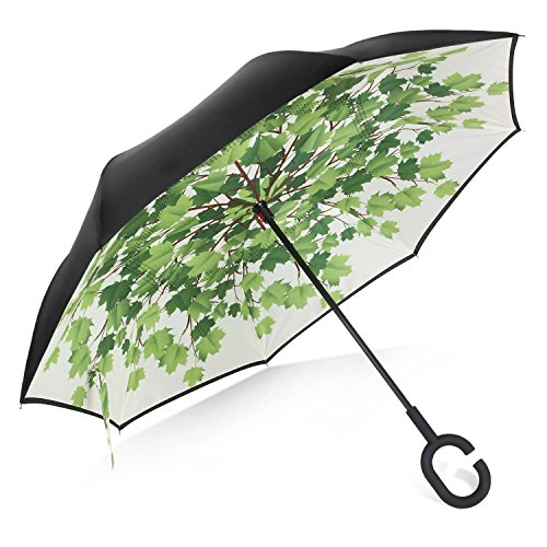 Rainlax Inverted Umbrella Double Layer Windproof UV Protection Sun&Rain Car Reverse folding Umbrellas (Green Shade)