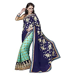 Shilp-Kala Faux Georgette,Chiffon Border Worked Blue Colored Saree SKN70016