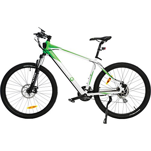 Jetson White Green Adventure Electric Bike Battery Powered All Terrain Ebike - Kids 13+ yrs, Adults - 21-speed, Smart LCD Display, Front Shock, Disc Brakes, LED Lights, Bike Bell - EZ Assembly