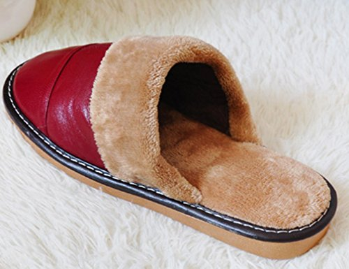 Cattior Womens Fur Lined Warm Bedroom Slippers Leather Slippers Deep Red 2vEN4A9RvF