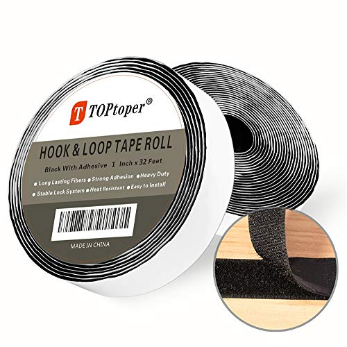 Tape Roll 1 Inch x 32.8 Feet Strips with Self Back Adhesive by TOPtoper Hook and Loop Tape Roll (Black)