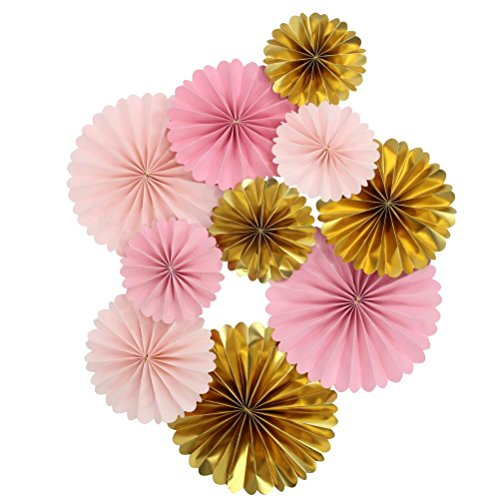 Mybbshower Pink Gold Paper Rosettes for Girl Baby Shower Princess Birthday Party Wall Home Nursery Room Decorations Pack of 10 ()
