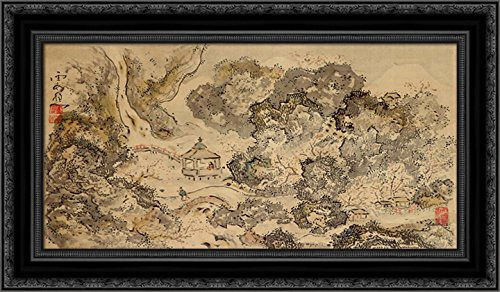 Landscape with Pavilion, Hanging Scroll 24x17 Black Ornate W