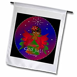 Yves Creations African-American Angels - African-American Christmas Angel Baby Girl Praying With God Jul Text - 12 x 18 inch Garden Flag (fl_6940_1)