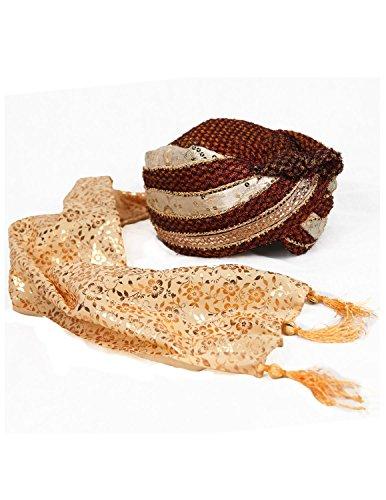 [Sunshine Joy Safa Indian Wedding Turban Hat] (Indian Man Costume)