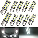 EverBright 10-Pack Extremely Bright White 1156 BA15S 1141 1073 1095 1003 7506 18-SMD LED Car Replacement Interior RV Camper Rear Turn Signal,Back Up,Parking Side Marker Light Bulb DC 12V