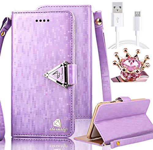 Galaxy S4 Case,Vandot 3in1 Set Exclusive Bling Glitter Book Style Wrist Strap Wallet Pouch Phone Case For Samsung Galaxy S4 I9500 PU leather Magnetic Closure Flip Stand Anti-scratch Cover Skin+Diamond Imperial Crown Anti Dust Plug+USB Data Cable -Purple