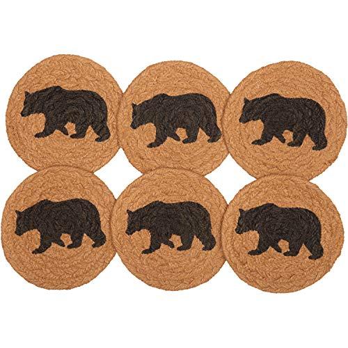 VHC Brands Rustic & Lodge Tabletop Kitchen Wyatt Bear Jute Stenciled Nature Print Round Coaster Set of 6 Espresso Black