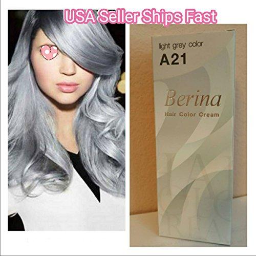 Berina NO A21 Light Gray Grey Ash Color Hair Cream Permanent Super Hair Dye Silver No.204