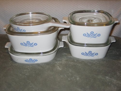 (10 PIECE SET - Vintage Corning Cornflower Blue Glass 6 1/2 Skillet. 1 1/2 Quart, 1 3/4 Quart, 2 1/2 Quart & 9 Inch Casserole w/ Clear)