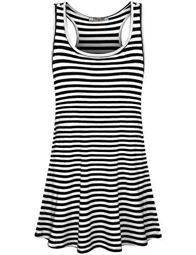 (Hibelle Black and White Striped Dress, Womens Summer Racerback Long Tank Tunic Top Leggings Sleeveless Nice Scoop Neck A Line Loose Knee Length Flattering Cosy T-Shirt Dresses X Large)
