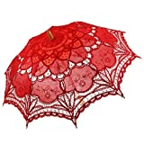 MonkeyJack Vintage Lace Floral Umbrella Wedding Bridal Parasol - Red, as described
