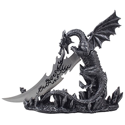 Mythical Guardian Dragon Knife on Display Stand Statue for Gothic Medieval Decor Daggers or Mantel, Desktop and Shelf Decorations As Decorative Office Gifts For Men