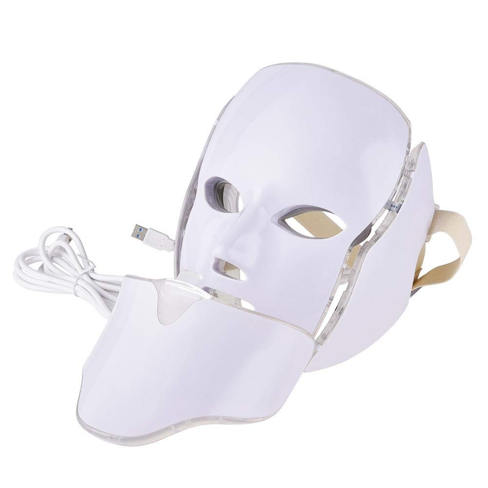 Per Newly 7 Colors LED Light Facial Mask Photorejuvenation Spectrum Beauty Instrument with Neck Mask Set