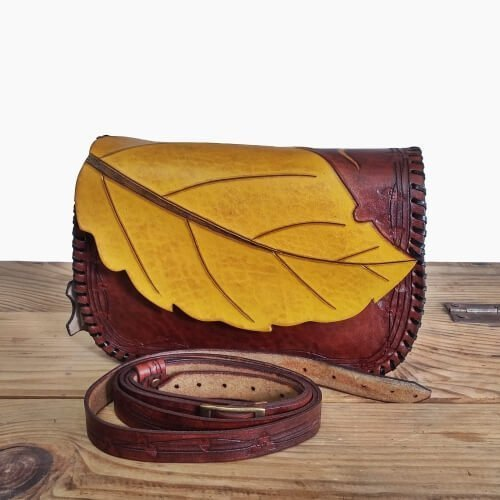 Handmade Veg Tanned Leather Womens Crossbody Shoulder Bags Handbag Woman Purse Leaf Bag Pattern Small 9 inch