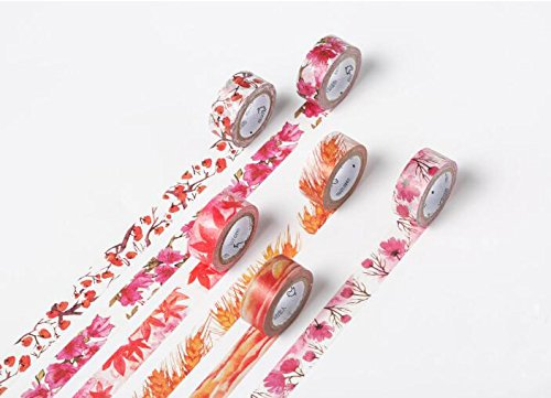 [Home-organizer Tech Colorful Masking Tape Decorative Paper Tape with Pattern Designs, Cute Colored Collection From DIY Crew ( Cherry blossoms )] (Hilton Cherry)