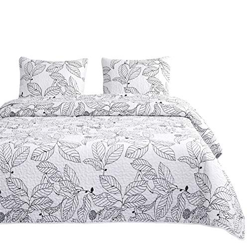 Wake In Cloud - Tree Quilt Set, Black Branches Leaves Pattern Printed on White, 100% Cotton Fabric with Soft Microfiber Inner Fill Bedspread Coverlet Bedding (3pcs, Queen Size) - Leaves Autumn Quilt