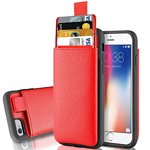iPhone 6s Plus Wallet for Women and Girls, iPhone 6 Plus Hidden Card Holder Case, LAMEEKU Shockproof Leather case with Card Slot, Protective Cover for Apple iPhone 6 Plus /6S Plus 5.5 Red