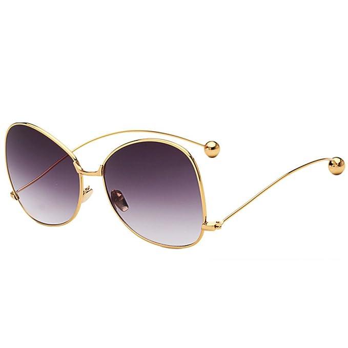 Xinvision Moda Oversized Steel Ball Metal Bastidor Gafas de sol Espejado Lente Spectacles Elegante Polarizado Gafas Protección UV Los anteojos UV400 ...