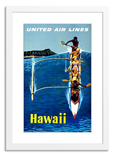 Gallery Direct Hawaii (Kyak) Artwork on Paper with White, Clean and Simple Frame, 22'' x 30'' by Gallery Direct