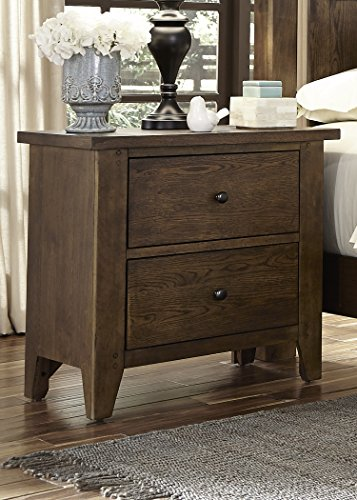 Liberty Furniture Hearthstone Bedroom 2-Drawer Night Stand, Rustic Oak Finish - Shaker Style Full Bed