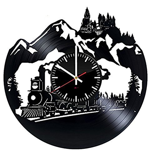 Big Train HANDMADE Vinyl Record Wall Clock - Get unique bedroom wall decor - Gift ideas for his and her – Fantasy Movie Unique Modern Art