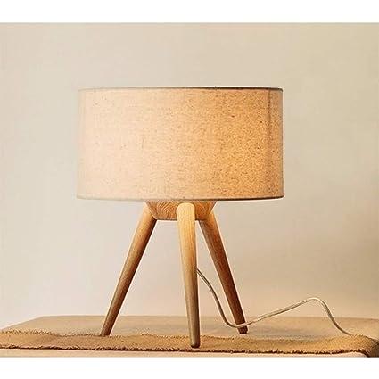 Trípode Lámpara de mesa de madera, decoración contemporánea ...