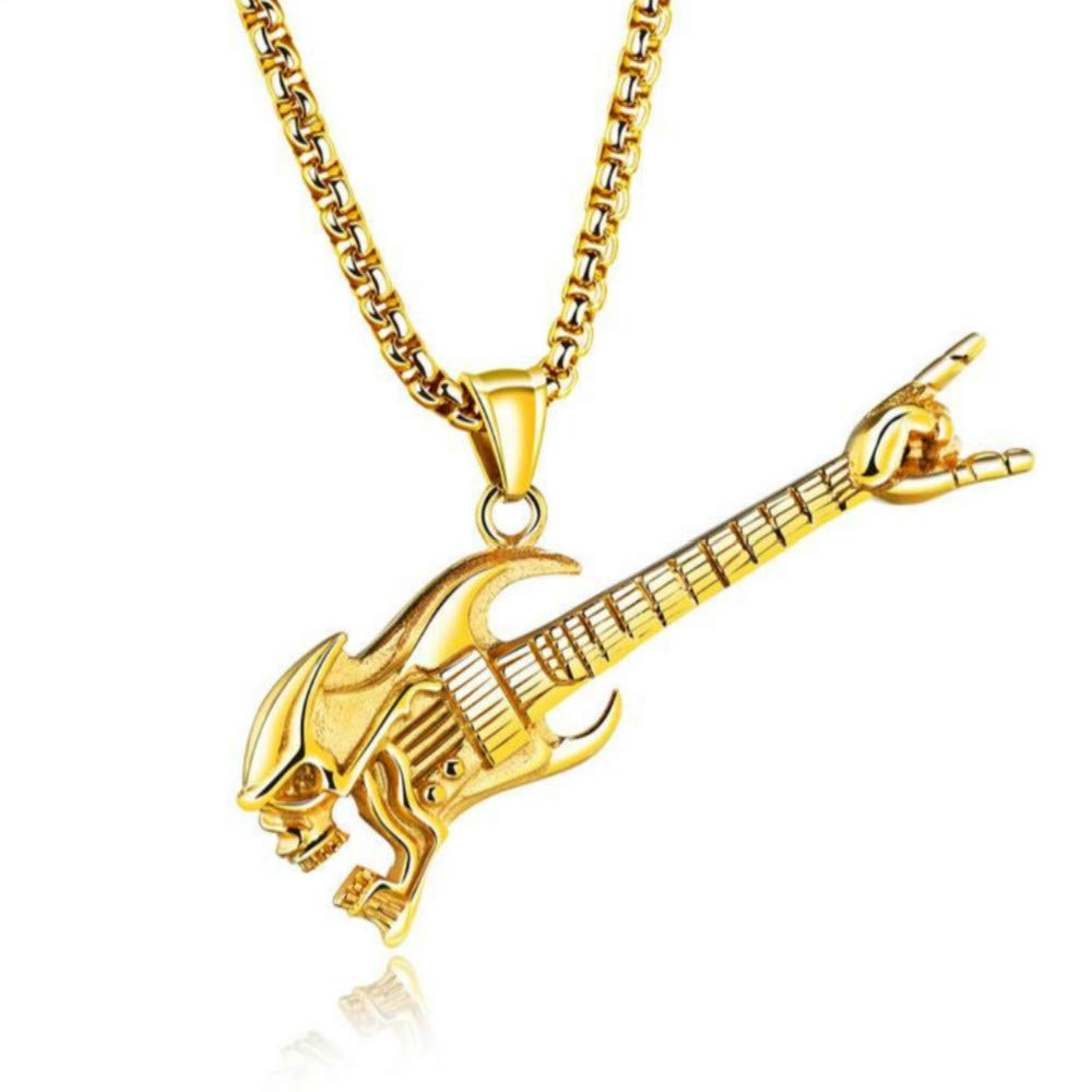 USUSAI - Collar con Colgante de Guitarra de Acero Inoxidable para ...