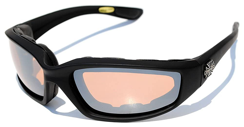 Night Driving Riding Padded Motorcycle Glasses 011 Black Frame with Yellow Lenses (Black - Amber Lens) Choppers