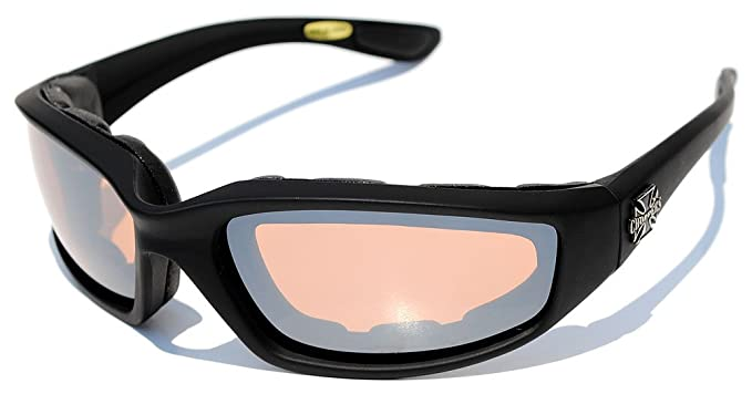 05bfde12c01 Amazon.com  Night Driving Riding Padded Motorcycle Glasses 011 Black Frame  with Yellow Lenses (Black - Amber Lens)  Clothing