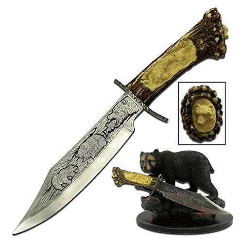 """Master Cutlery WC-31B-MC WC-31B 5"""" Blade with Bear Resin Stand Collectible Knife"""