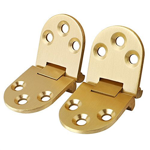 Hinges Butler Table (Alise 2 Pcs Sewing Machine Table Folding Flip Top Hinge,Solid Brass Brushed Finish)