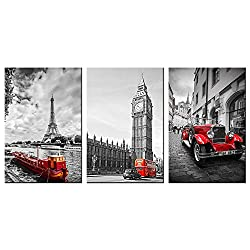 VVOVV Wall Decor - Canvas Prints Famous Architecture Wall Art Decor Modern Black and Red Picture Print Eiffel Tower Big Ben Clock and Paris Street Poster Framed Cityscape Painting Giclee Artwork