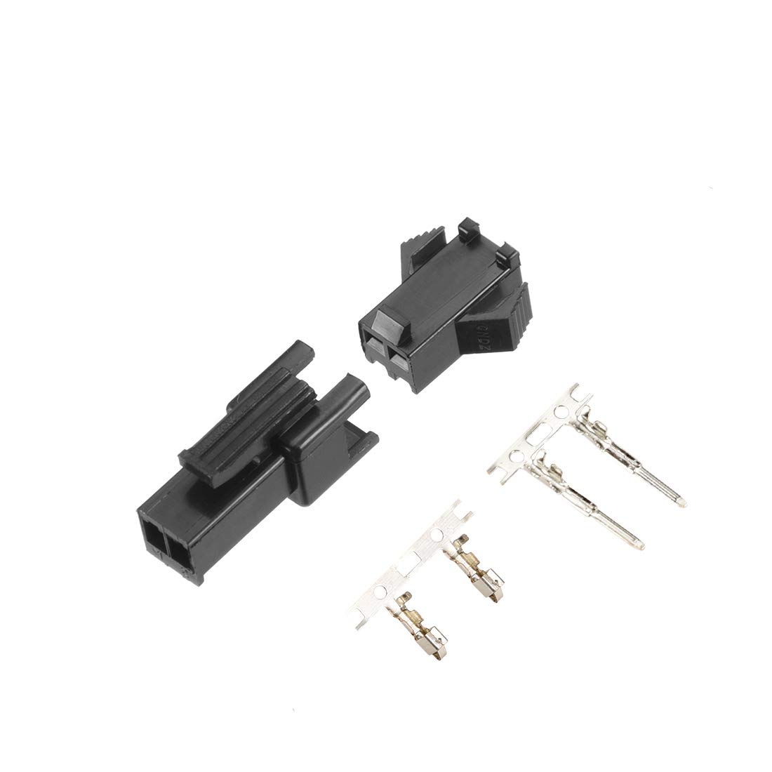 uxcell 100 Pairs 2.54mm 2 Pin Black Plastic Male Female JST-SM Housing Crimp Terminal Connector