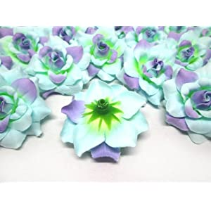 "(100) Silk Blue Purple Roses Flower Head - 1.75"" - Artificial Flowers Heads Fabric Floral Supplies Wholesale Lot for Wedding Flowers Accessories Make Bridal Hair Clips Headbands Dress 4"