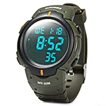 Rosegal Water Resistance Military LED Digital Watch Stopwatch Alarm Day Date Function(Green 2)
