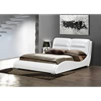 ACME Romney White Faux Leather Queen Bed