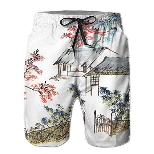 Richard-L Classic China Chinese Painting The Old House In The Country Summer Quick Dry Board/Beach Shorts For Men (Country Kids Soccer Bootie)