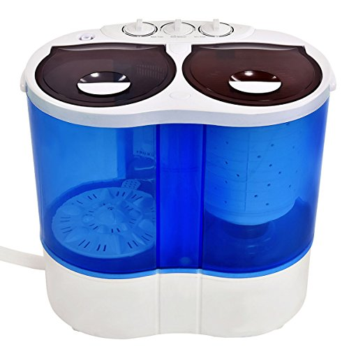 PROSPERLY U.S. Product Portable Mini Washing Machine Compact Twin Tub 7.7lb Washer Spin Dryer Furni - Malaysia Caravan