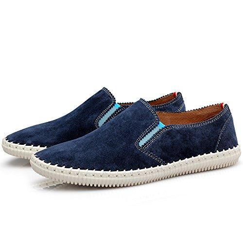 Abby 9988-1 Nya Man Tillfälliga Läder Loafers Välbefinnande Slip-on Smart Körning Skor Navy