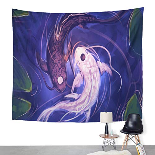 ArtSocket Tapestry Yin Yang Pair of Koi Fish Balance Philosophy Home Decor Wall Art Hanging for Living Room Bedroom Dorm 60 x 80 Inches Tapestry (Pair Art)