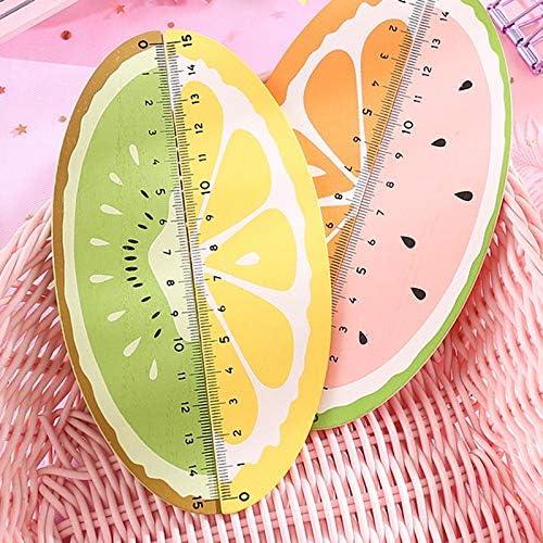 Shumo 4 Pezzi Righello di Frutta nel Legno Carino 15 Cm Strumento di Disegno Regali di Cancelleria Promozionali per Cancelleria Retta