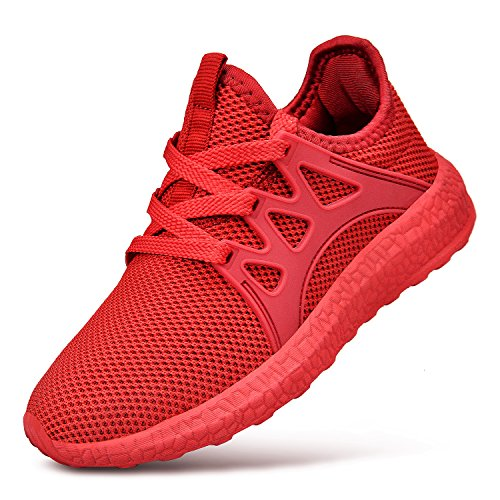 Feetmat Kids Comfortable Running Sneakers Lace-up Athletic Hiking Walking Shoes for Boys Girls Red ()
