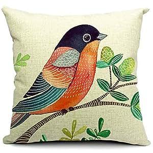 Diseño de pájaros de funda de almohada algodón lino decorativo/